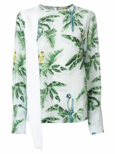 Stella McCartney palm leaf and parrot print top - White