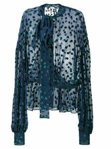 Magda Butrym Cali Polka-Dot Sheer Blouse - Blue