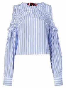 Hilfiger Collection striped cold shoulder blouse - White