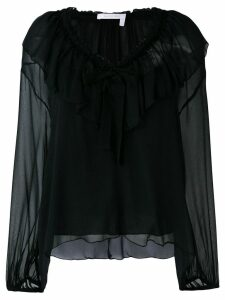 See By Chloé ruffled neck tie blouse - Black