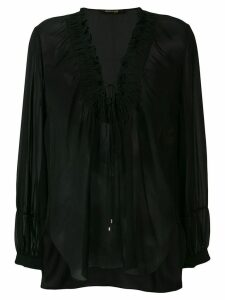Roberto Cavalli laced neck blouse - Black
