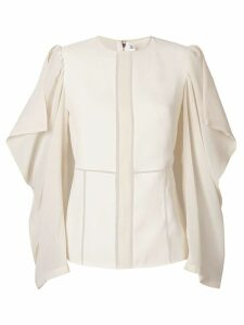 Victoria Beckham drape sleeve panelled top - NEUTRALS