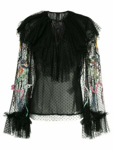 Romance Was Born Unicorn beaded blouse - Black