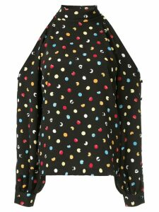 Anna October dotted cold-shoulder blouse - Black