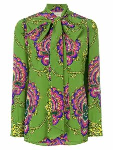 Gucci 70s graphic print blouse - Green
