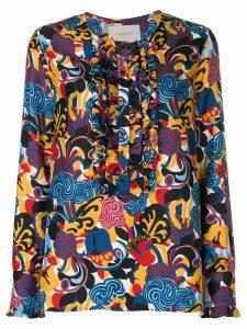 La Doublej zoo print henley blouse - Multicolour