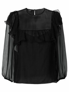Rochas sheer ruffle trim blouse - Black