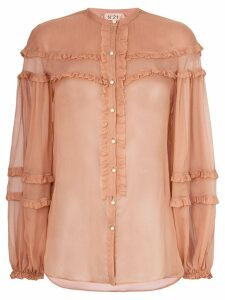 Nº21 ruffle detail sheer blouse - Brown