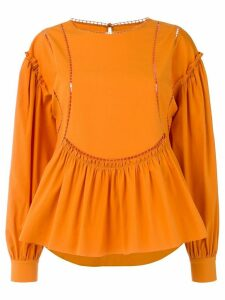 Alberta Ferretti ladder detail blouse - ORANGE