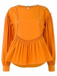 Alberta Ferretti ladder detail blouse - ORANGE