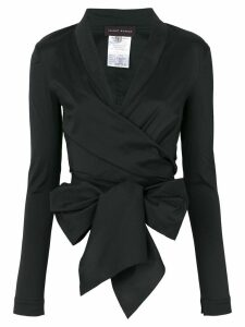 Talbot Runhof bow detail wrap top - Black