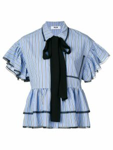 MSGM pinstripe ruffled blouse - Blue