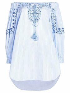 Ermanno Scervino embroidered striped off the shoulder blouse - Blue
