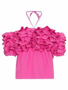 Rosie Assoulin Halterneck Ruffle Top - PINK