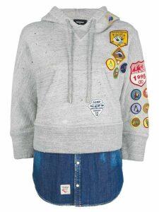 Dsquared2 patchwork hooded sweatshirt - Grey
