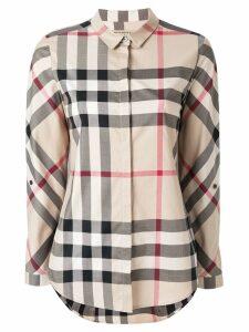 Burberry Stretch-Cotton Check Shirt - NEUTRALS