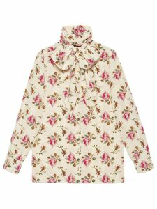 Gucci Rose print silk shirt - NEUTRALS