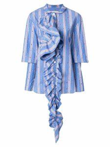 Marni striped ruffle detail shirt - Blue