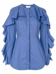 Sara Battaglia ruffled trim shirt - Blue