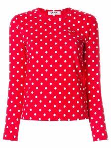 Comme Des Garçons Play polka dot heart logo T-shirt - Multicolour
