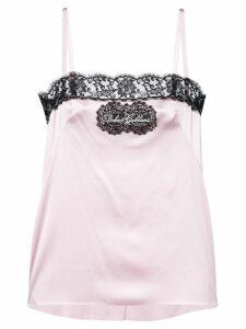 Dolce & Gabbana logo patch lace trim camisole - Pink