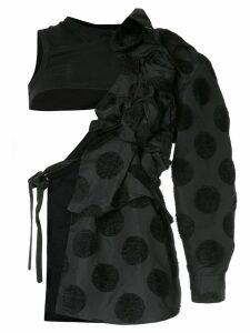 Comme Des Garçons Pre-Owned flocked dots deconstructed coat - Black