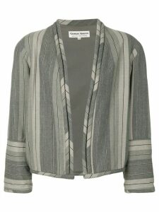 Giorgio Armani Pre-Owned striped collarless jacket - Grey
