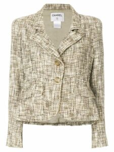 Chanel Pre-Owned tweed effect blazer - NEUTRALS