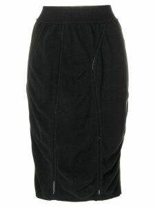 Alaïa Pre-Owned 1980's midi draped pencil skirt - Black