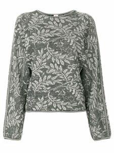 Emanuel Ungaro Pre-Owned leaves pattern knitted blouse - Black