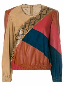 Valentino Pre-Owned 1980's colourblock leather blouse - Multicolour