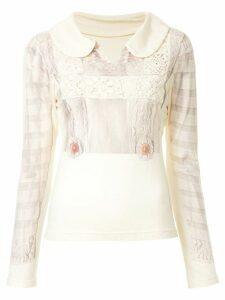 Comme Des Garçons Pre-Owned crochet appliquée blouse - NEUTRALS