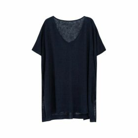 Ille De Cocos Linen Oversized Sweater - Navy