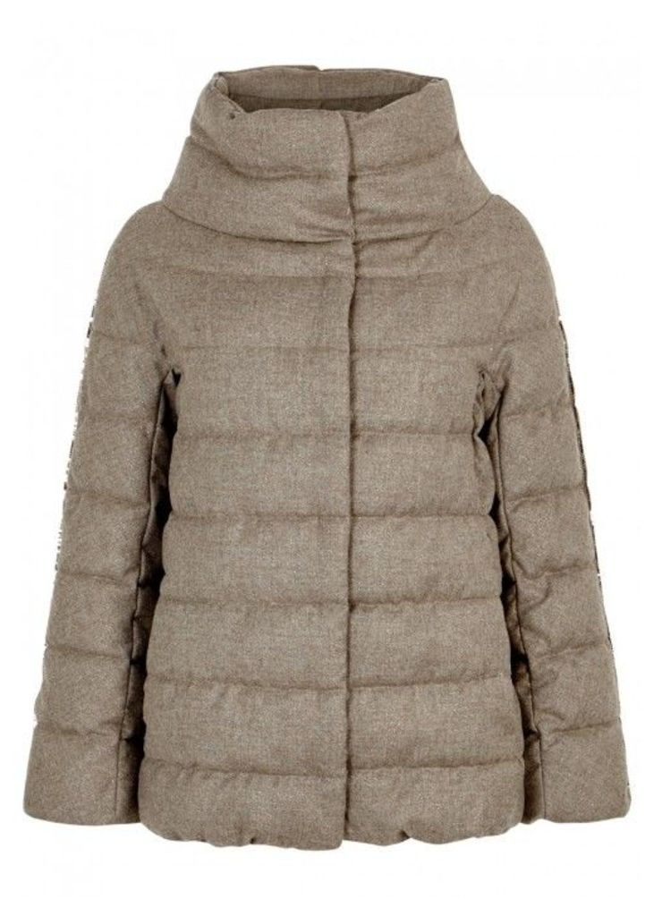 Herno Quilted Glitter-effect Wool Blend Jacket