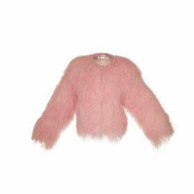 Popski London Sabrina Shearling Jacket In Pale Pink
