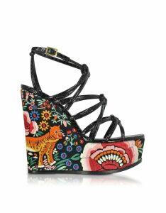 Roberto Cavalli Designer Shoes, Floral Embroidered Black Leather Wedges