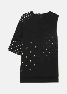 Stella McCartney - Asymmetric Faux Pearl-embellished Cady Top - Black