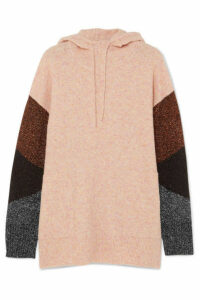 By Malene Birger - Brunilde Hooded Metallic-paneled Knitted Sweater - Pink
