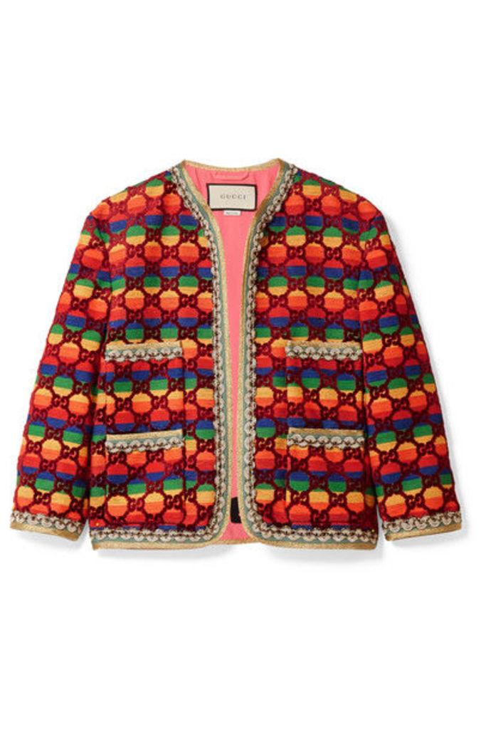 Gucci - Embellished Flocked Striped Woven Jacket - Burgundy