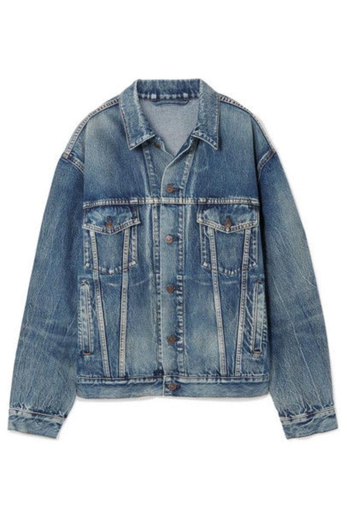 Balenciaga - Like A Man Oversized Printed Denim Jacket - Blue