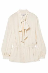 Balenciaga - Pussy-bow Silk Crepe De Chine Blouse - White