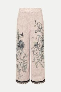 Prada - Cropped Chain-trimmed Printed Crepe Straight-leg Pants - Pastel pink