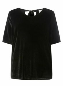 Womens Juna Rose Curve Black Tie Back Blouse, Black
