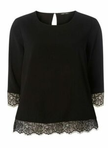 Womens **Only Black 3/4 Sleeve Lace Top, Black
