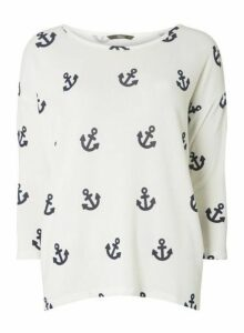 Womens **Only White Anchor Print Top, White