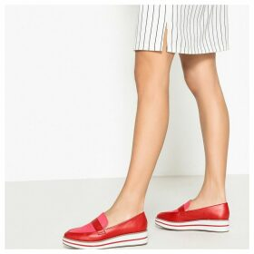 Faux Leather Striped Flatform Loafers