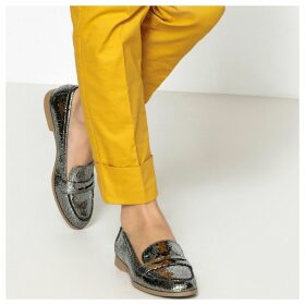 Metallic Cracked Loafers