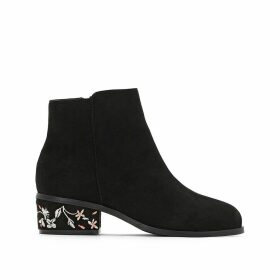 Patterned Heel Ankle Boots