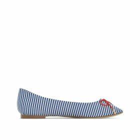 Striped ballerinas wide foot