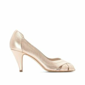 Leather Metallic Peep Toe Heels